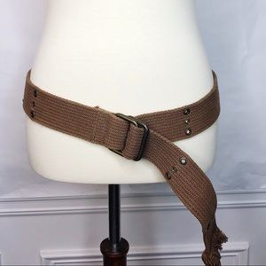 Brown Army Green Woven Belt with Grommets Size 36